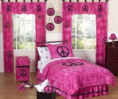 Tie Dye Pink Groovy Peace Sign Bedding for Children 4 pc Twin