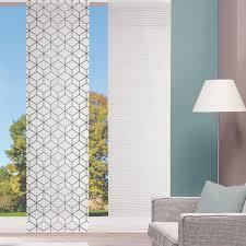 schiebevorhang bambusoptik sesana geometrisch digitaldruck weiß grau kürzbar 60x260cm
