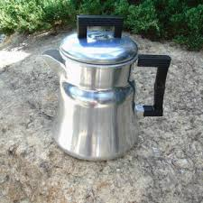 Wear Ever Tacuco Aluminum Coffee Pot Primitive Stove Top Drip Maker Camp Kettle Vintage