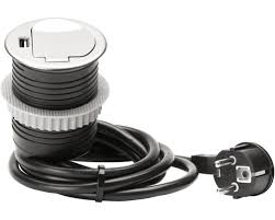 einbausteckdose und usb schwarz silber mit zuleitung h05vv f3g1 5mm 1 5 m
