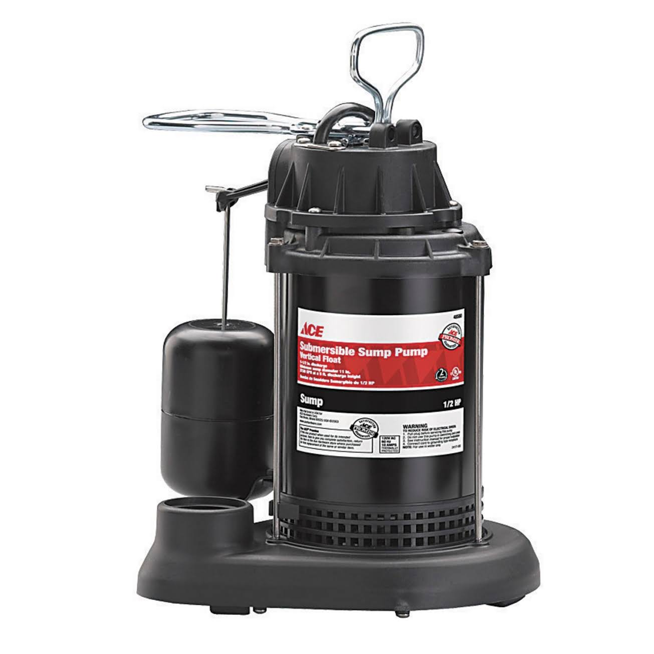 Ace Submersible Sump Pump - 1/2 HP, Vertical Float Switch