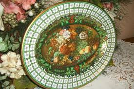 Daher Decorated Ware 11101 by Daher Decorated Ware Oval Metal Tray Still Life Fruit Floral Green