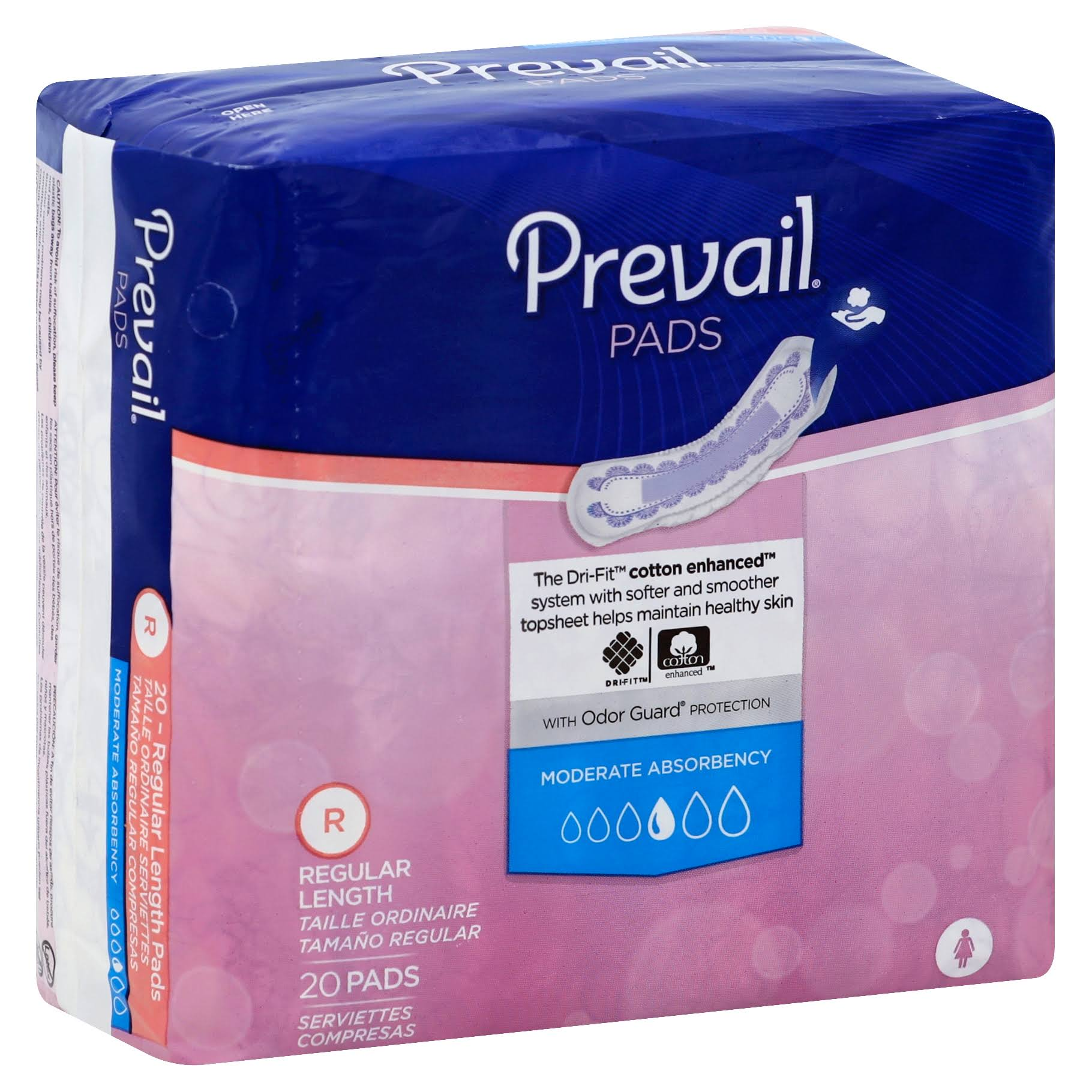 Prevail Feminine Pads - Moderate, 20ct
