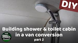 Bathroom Building In Van Conversion Plastic Paneling Shower Tray Mixer Tap Head Piping