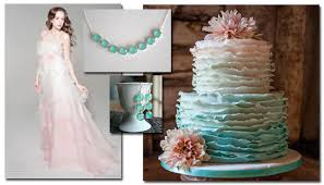 Pink And Mint Aqua Green Ombre Wedding Dress Cake
