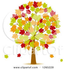 Fall Tree With Red Green And Orange Autumn Leaves by elaineitalia