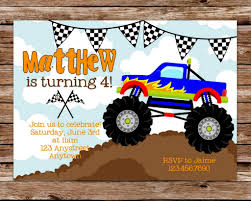 Monster Truck Birthday Invitations | Printable Monster Truck ... Dump Truck Party Invitations Cimvitation Nealon Design Little Blue Truck Birthday Printable Little Boys Invites Monster Cloveranddotcom Fireman Template Best Collection Invitation Themes Blue Supplies As Blue Truck Invitation Little Cstruction Boy Vertaboxcom Bagvania Free