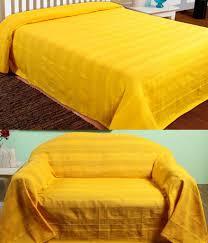 homescapes jeté de lit ou jeté de canapé jaune mandarine 255x360cm