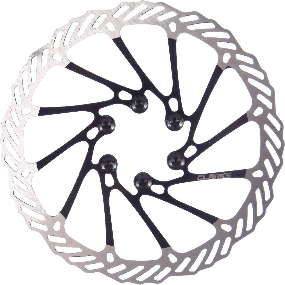 Clarks Brake Disc Rotor - Silver and Black, 6 Bolt, 160mm