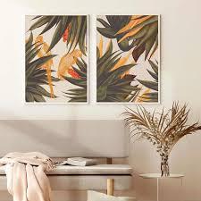trend abstrakte nahtlose muster mit bunte tropische blätter beige wand kunstdrucke leinwand gemälde wohnzimmer dekoration