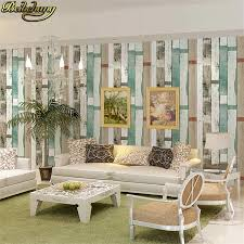 beibehang stil gestreifte tapete vintage holz wand papier 3d bars wohnzimmer wand home decor blau beige weiß papel de pared