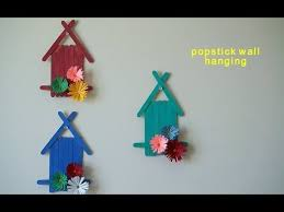 Popsicle Sticks Wall Hanging With Handmade Paper Flowerkids Room Decoration