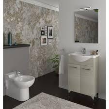 badezimmer badmöbel auf dem boden 65 cm ambra aus eiche grau holz mit waschtisch standard 65 cm eiche grau
