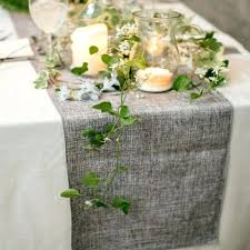 Table Runner Burlap Natural Jute Imitated Linen Rustic Wedding Party Decoration Khaki Gray Tablecloth Homegrey And