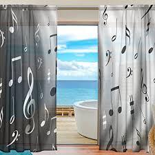 WOZO Black White Music Note Window Sheer Curtain Panels 55quotx84quot 2
