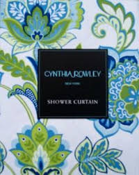 blue and green floral on white shower curtain galina amalfi