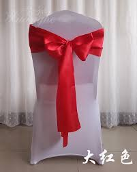 Chair Back Flower Bow Hotel Conference Wedding Banquet Celebration Self-tie  Chair Cover Back Decorative Straps Wedding Ribbon