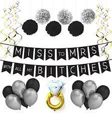 Miss To Mrs Classy Sassy Bachelorette Black Silver Party Pack