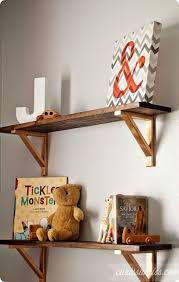 rustic wood wall shelves with metal brackets