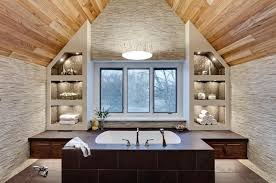Striking Natural Wood Arched Ceiling Hangs Over This Both Bathroom Featuring Sunken Tub In