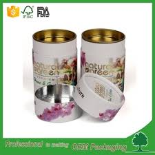 FDA Recycled Cardboard Powder Container Food Grade Packaging Tube For Coffee Coated Aluminium Foil Paper