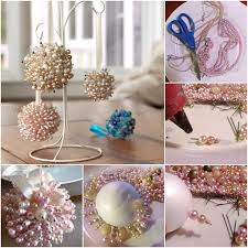 VIEW IN GALLERY Homemade Christmas Tree Ornaments Pearls Foam Ball Instructions Handprint DIY F