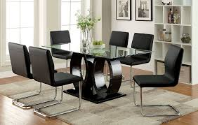 Dining Room Chairs For Glass Table by Amazon Com Furniture Of America Quezon 7 Piece Glass Top Double