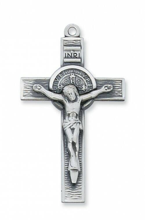 Sterling Silver St. Benedict Crucifix Necklace - Personalizable