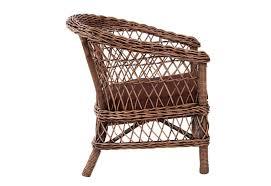 siege en rotin fauteuil de jardin en rotin naturel et coussin marron vical home vi