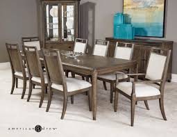 American Drew Park Studio Contemporary 9 Piece Dining Room Table Set ... Trisha Yearwood Home Music City Hello Im Gone Ding Room Table Grey Griffin Cutback Upholstered Chair Along With Dark Wood Amazoncom Formal Luxurious 5pc Set Antique Silver Finish Tribeca Round And 2 Upholstered Side Chairs American Haddie Light Tone 4 Value Hooker Fniture Corsica Rectangle Pedestal Matisse With W Ladder Back By Paula Deen Vienna Merlot Kayla New
