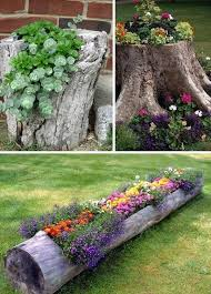 Garden Outstanding Gray Rectangle Unique Wooden Diy Ornamental Tree Stump With Flowers Design