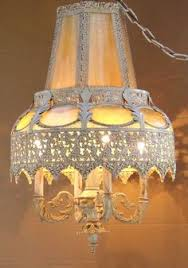 Plug In Swag Lamps Ebay by Spanish Revival Amber Glass Swag Lamp Light Pendant Gothic Iron