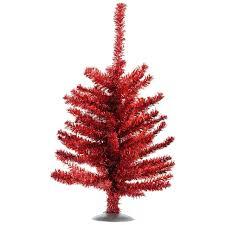 12 Sparkling Red Retro Tinsel Artificial Christmas Tree