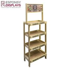 Floor Wood Beer Display Rack Wine Shelf