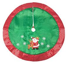 Red And Green Santa With Rudolph Christmas Tree Skirt By Clever Creations