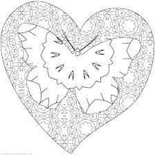 Coloring Pages Flowers And Hearts Butterfly Heart Free Printable Conversation