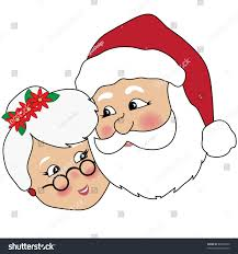 Clip Art Illustration Of Mr And Mrs Claus Cuddling