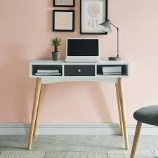bureau c discount babette bureau droit scandinave pieds en bois massif décor blanc