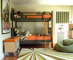 Add Grey Bean Bag And Simple Boys Bunk Beds On Wide Carpet Hardwood Flooring