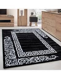 moderner designer elegance wohnzimmer teppich miami 6620 schwarz weiss