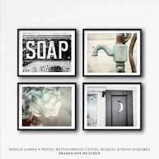 bauernhaus badezimmer wand kunst dekor set 4 kunstdrucke leinwand wraps oder holz zeichen schwarz und petrol badezimmer bilder 5x7 8x10
