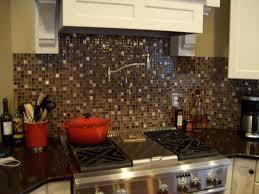 witching brown mosaic glass tile kitchen backsplash features black