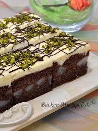 birnen kuchen mit puddingcreme