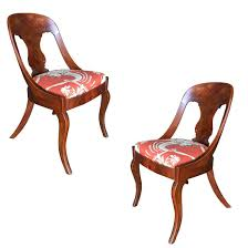 Streamline Art Deco Mahogany Side Chairs, Set Of Two