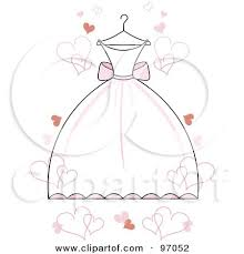 Royalty Free RF Clipart Illustration of a White Wedding Dress With Pink Accents A Hanger With Floating Hearts by Pams Clipart