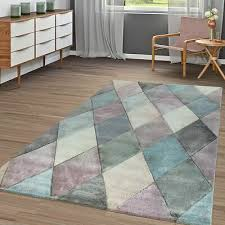 wohnzimmer teppich bunt pastellfarben rauten muster 3 d