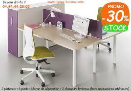 bureau 2 personnes 2 bureaux à avec classeurs de rangement design tom