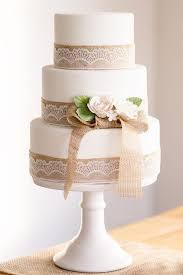 Rusticwhite Wedding Cake With Burlap Lace Details Deerpearlflowers