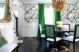 Emerald Green Drapes Channels Wallpaper In Ebony Ivory With Dining Room