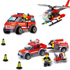 KAZI 9 Style Fire Fight Series City Fire Station Truck Helicopter ...